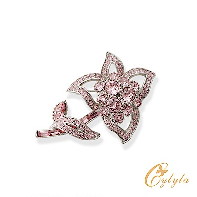 Cylyla思琳娜 施華洛世奇元素桃花晶鑽胸針別針B8042