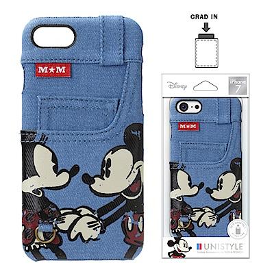 iPhone 8/7 迪士尼 皮革背蓋口袋 硬殼 4.7吋-牛仔藍