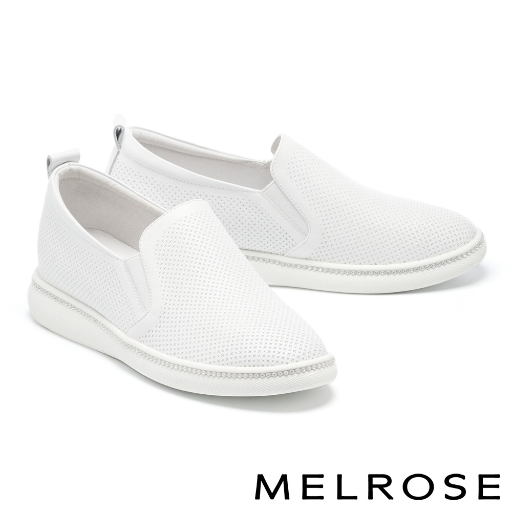 休閒鞋 MELROSE 簡約時尚壓花全真皮造型厚底休閒鞋-白