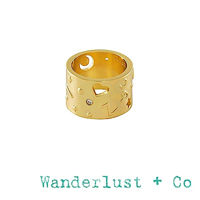 Wanderlust+Co 閃耀銀河月亮星星戒指 金色鑲鑽小寬版戒指 ALEYA
