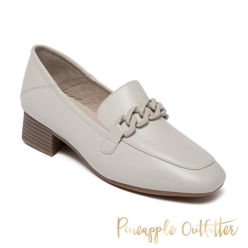 Pineapple Outfitte-MADELINE 羊皮粗低跟穆勒鞋-白色