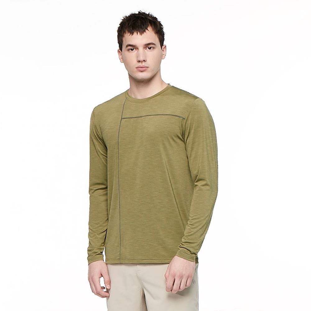【HAKERS 哈克士】男 彈性吸濕排汗抗UV長袖上衣(羅登綠)