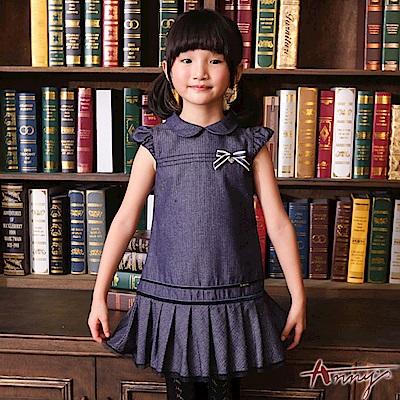 Anny流行海洋風藍調蝴蝶結網紗擺洋裝*6249藍