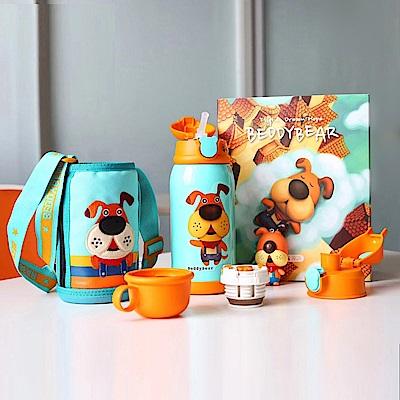 韓國BEDDY BEAR 316不鏽鋼兒童可背式水壺禮盒組630ML(暖心汪汪)