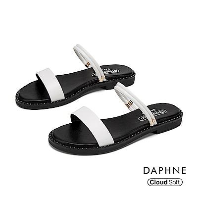 達芙妮DAPHNE 涼鞋-簡約一字帶鉚釘舒適平底拖鞋-白色