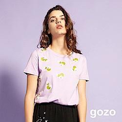 gozo 小清新印花珍珠造型上衣(淺紫)