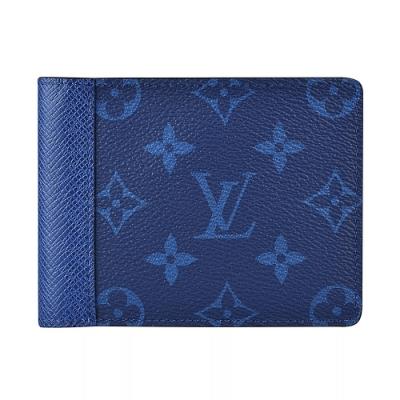 LV M30299 MULTIPLE花紋LOGO Monogram帆布5卡對折短夾(海軍藍)
