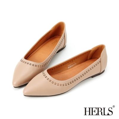 HERLS平底鞋-幾何沖孔滾邊尖頭平底鞋-藕粉色