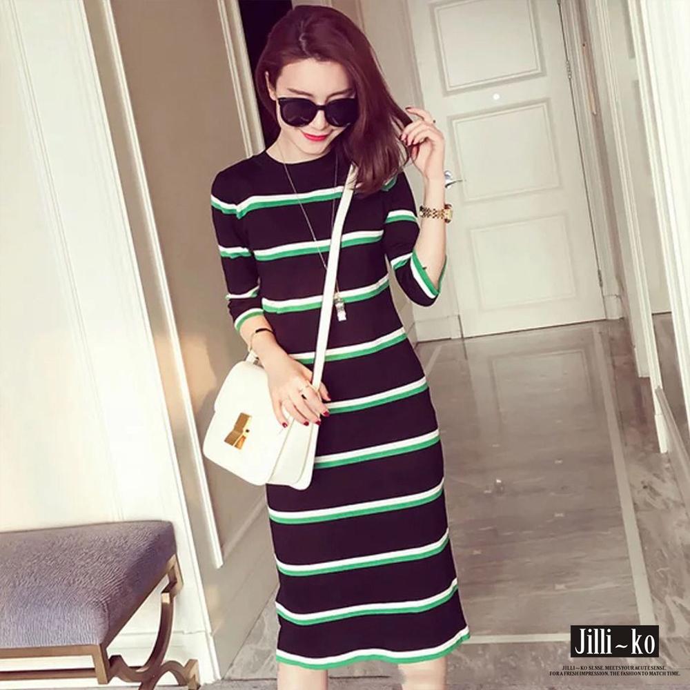 Jilli-ko 配色條紋針織連身裙-綠