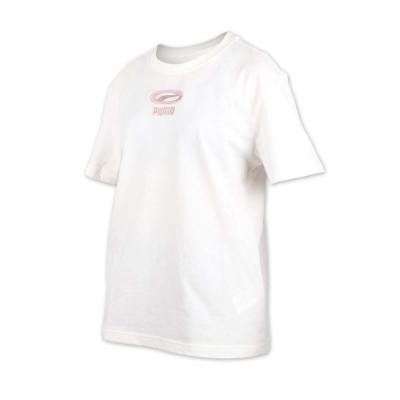 PUMA 女基本系列刺繡短袖T恤-慢跑 路跑 米白玫瑰金