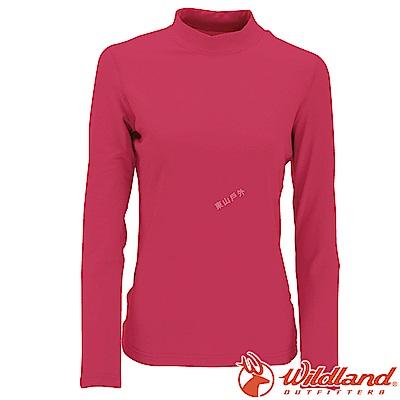 Wildland 荒野 W2651-20玫瑰紅 女遠紅外線保暖中領衛生衣