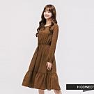 H:CONNECT 韓國品牌 女裝 - 復古格紋綁結洋裝 - 棕