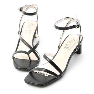 D+AF 獨特風尚.不對稱設計中跟涼鞋*黑