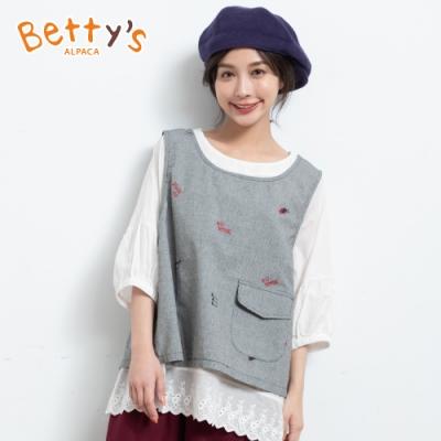 betty's貝蒂思 日系寬版兩件式上衣(黑色)