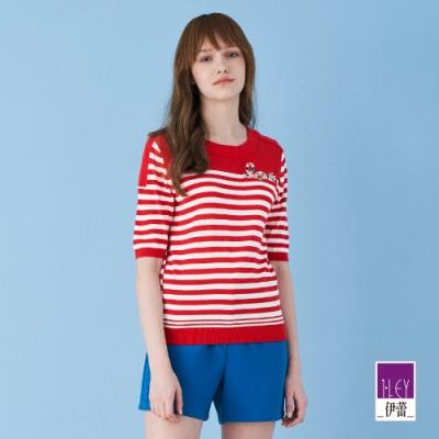 ILEY伊蕾 微縷空撞色條紋針織上衣(紅)