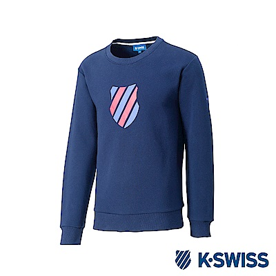 K-Swiss Crew Neck Sweatshirt 刷毛圓領上衣-男-藍