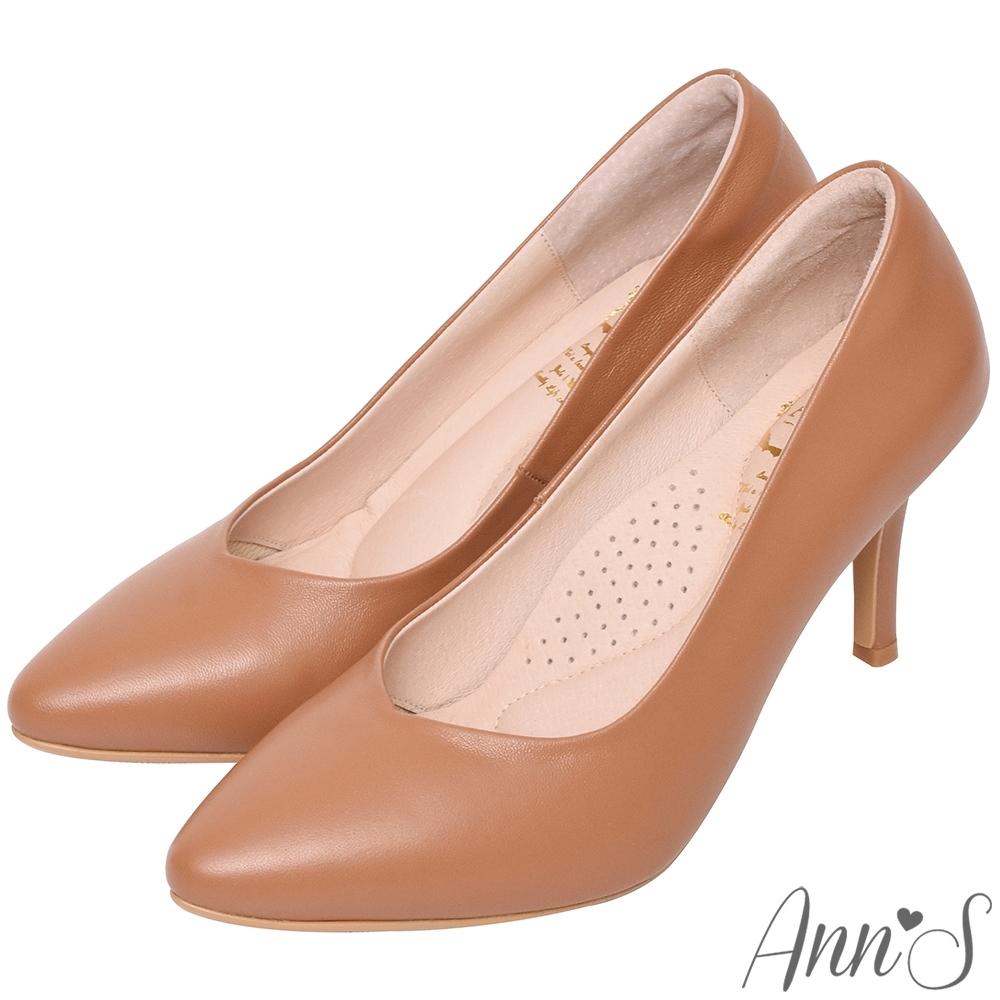 Ann'S舒適療癒系-V型美腿綿羊皮尖頭跟鞋-棕