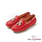 【CUMAR】悠遊輕井澤 - 簡約配色流蘇帆船鞋休閒鞋-紅