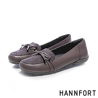 HANNFORT RIPPLE蝴蝶結綁帶羊皮淑女鞋-女-深棕灰