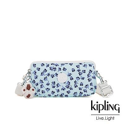 Kipling 典雅淡藍小花側背多功能配件包-EMILIA
