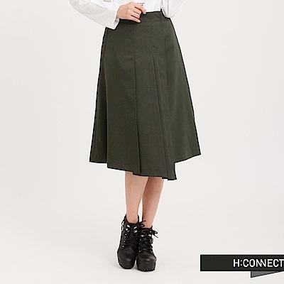 H:CONNECT 韓國品牌 女裝 - 設計打褶中長裙-綠(快)