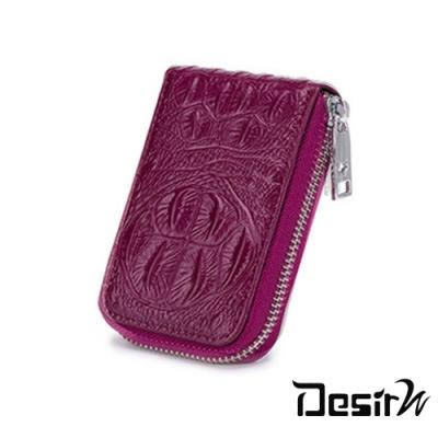 Desir-鱷魚紋真皮拉鍊零錢風琴12卡包