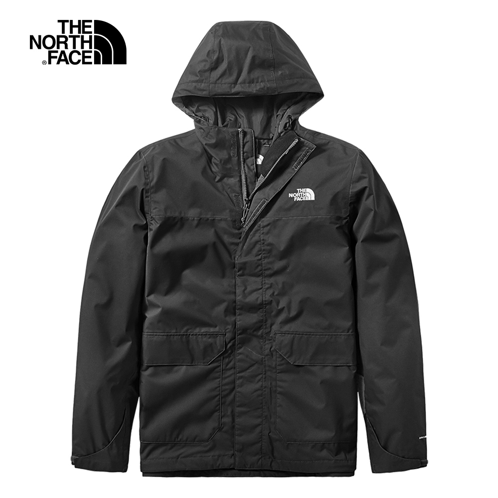 The North Face北面男款黑色防水透氣戶外衝鋒衣|497JJK3