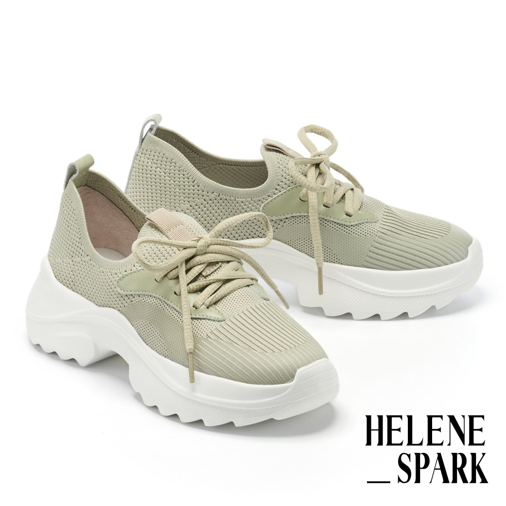 休閒鞋 HELENE SPARK 簡約率性飛織綁帶老爹厚底休閒鞋-綠