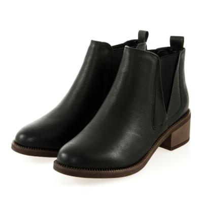 JMS-美型經典拼接鬆緊短踝靴-黑色