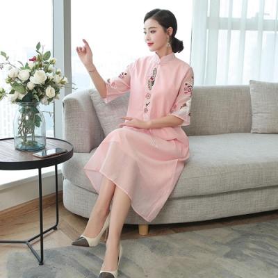 古典風復古氣質刺繡洋裝M-3XL(共四色)REKO