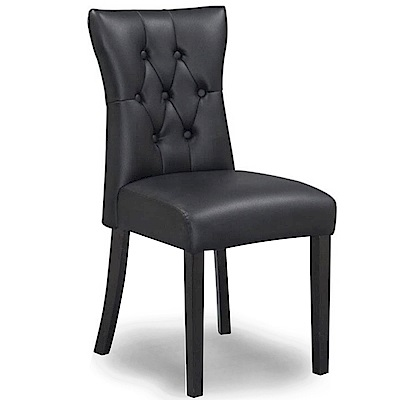 【AT HOME】現代簡約黑皮實木腳餐椅/休閒椅(45*58*91cm)卡蜜拉