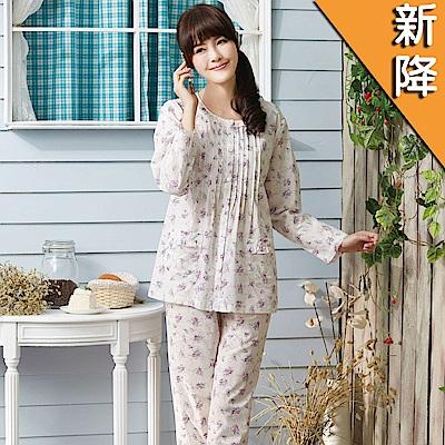 華歌爾睡衣-精梳棉印花居家服M-L兩件式睡衣(清新白)