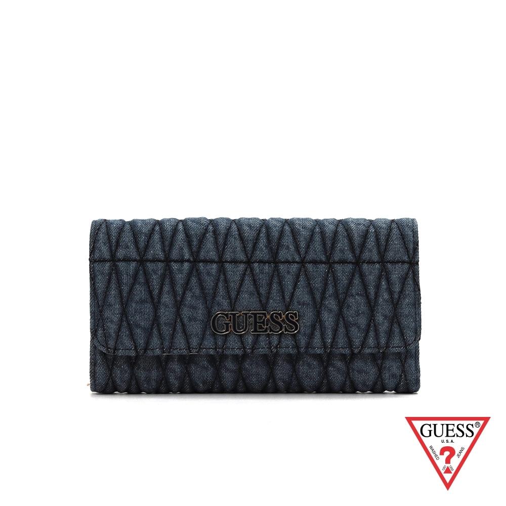 GUESS-女夾-拼接菱形縫線三折式長夾-牛仔藍 原價1690