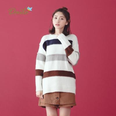 新降【Dailo】條紋拼接配色-針織衫(二色)