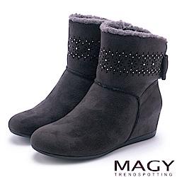 MAGY 柔軟暖呼呼 甜美蝴蝶結平底內增高短靴-灰色
