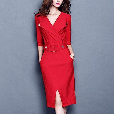收腰顯瘦五分袖OL洋裝M-3XL(共三色)-M2M