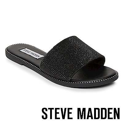 STEVE MADDEN SATISFY 水鑽鉚釘滾邊平底一字拖鞋-黑色