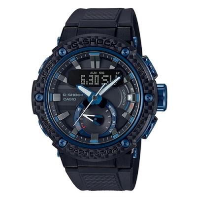 G-SHOCK 碳纖維防護四重感應器藍寶石太陽能藍芽錶(GST-B200X-1A2)藍圈/53.3mm