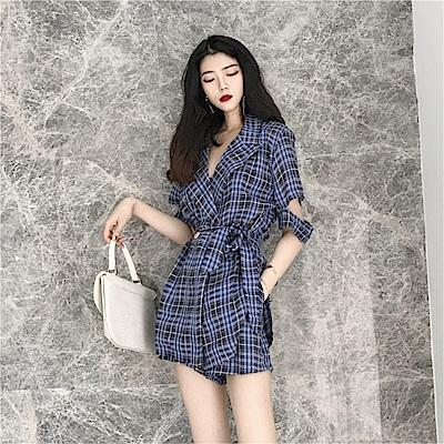 DABI韓系時尚西裝領格子襯衫外套格子短褲套裝短袖褲裝