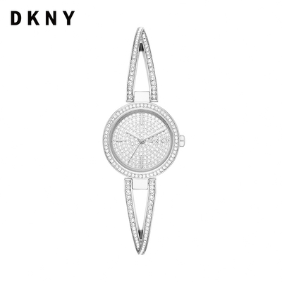 DKNY 經典交叉環狀晶燦不鏽鋼手鐲錶-多品任選