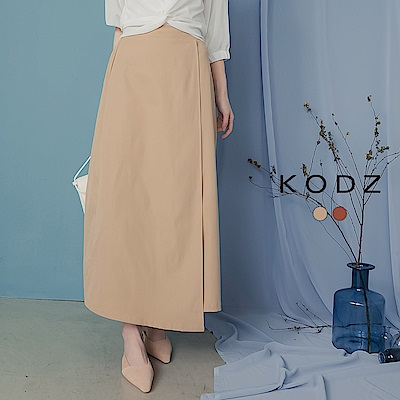 東京著衣-KODZ 輕鬆駕馭後鬆緊一片裝飾A字裙-S.M.L-(共二色)