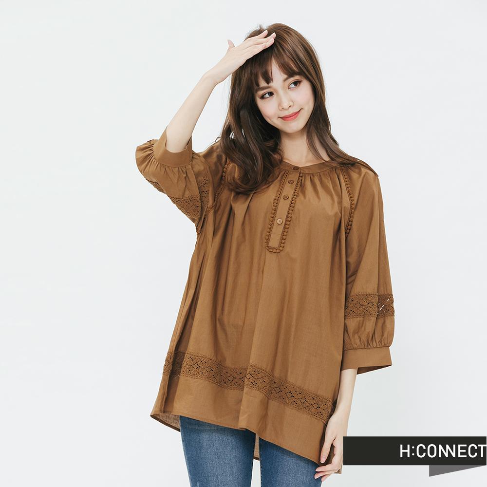 H:CONNECT 韓國品牌 女裝-刺繡造型排扣上衣-棕