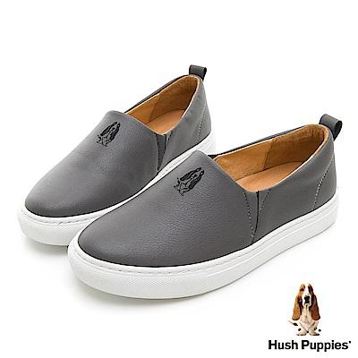 Hush Puppies ADAN 皮革直套便鞋-煙灰