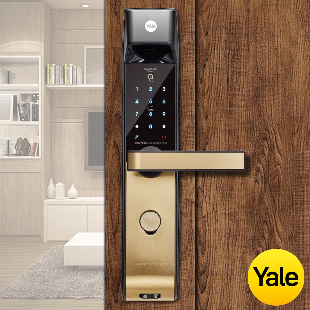 美國Yale耶魯指紋/卡片/密碼/鑰匙四合一防盜電子鎖-YDM7216A