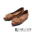 Fair Lady Soft懶骨頭 鏤空金屬框飾尖頭平底鞋 棕