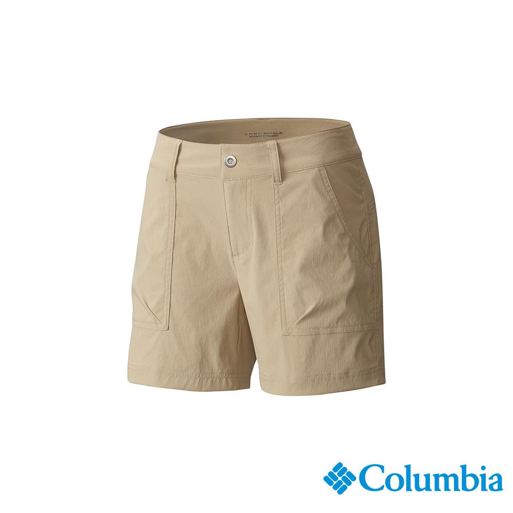Columbia 哥倫比亞 女款-UPF30防潑短褲-棕褐 UAR19890TN