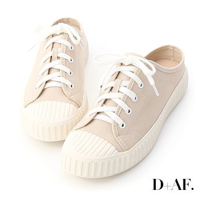 D+AF 隨性日常.休閒帆布穆勒餅乾鞋*杏