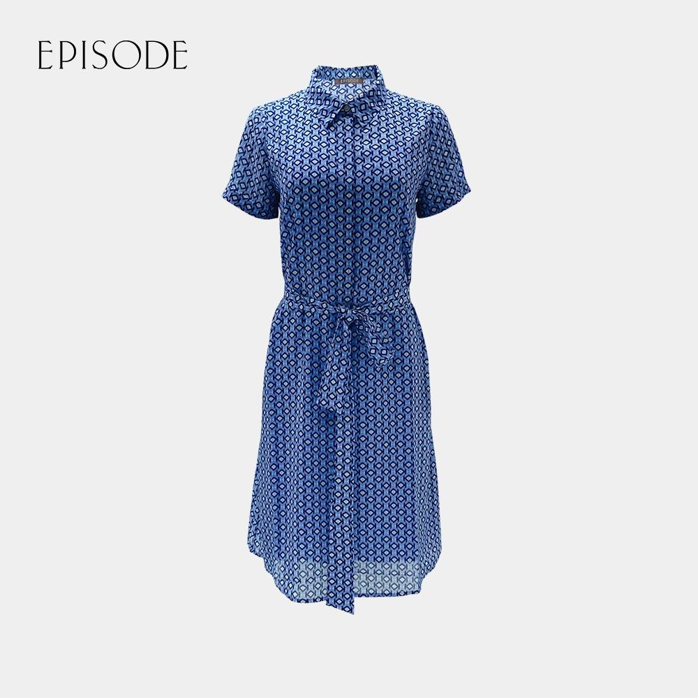 EPISODE - 清新印花雪紡短袖襯衫洋裝(藍)