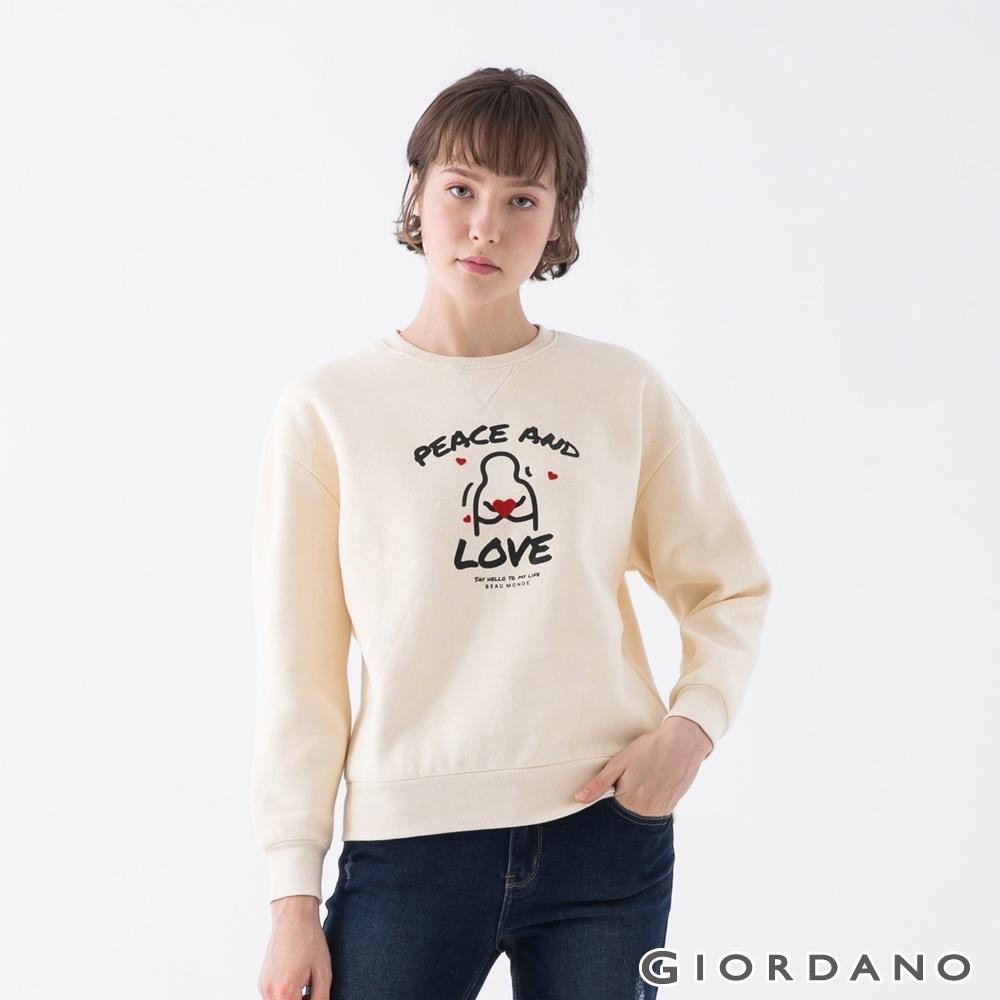 GIORDANO  女裝MY LIFE大學T恤 - 01 泡沫灰