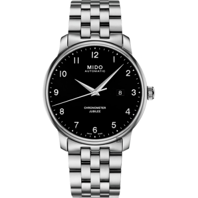 MIDO美度 Baroncelli 永恆系列天文台認證機械錶-黑x銀/42mm M0376081105200